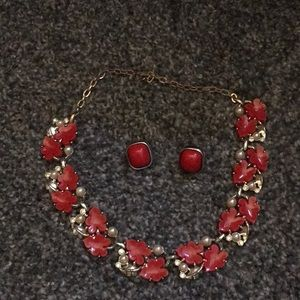 Jewelry - Vintage necklace and earrings. Unmarked